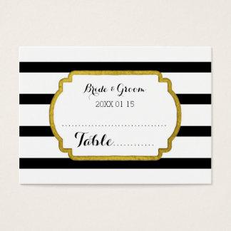 Gold Black Stripe Wedding Table Place Setting Card