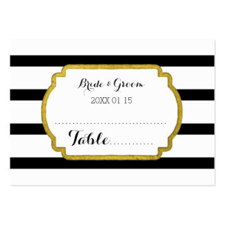 Gold Black Stripe Wedding Table Place Setting Card Large Business Card