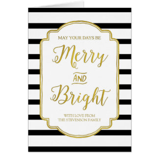 Gold Black Stripes Custom Merry & Bright Christmas Card