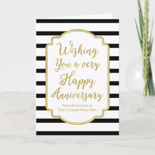 gold black stripes employee anniversary card - Employee Anniversary Cards