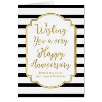 Gold Black Stripes Employee Anniversary Card