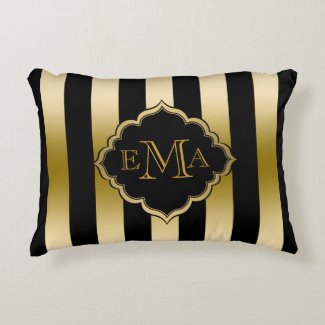 Gold & Black Stripes Geometric Pattern Accent Pillow