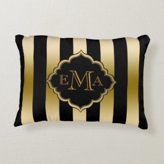 Gold & Black Stripes Geometric Pattern
