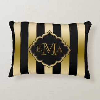 Gold & Black Stripes Geometric Pattern Accent Pillow