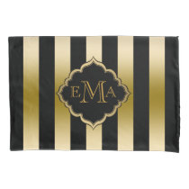 Gold & Black Stripes Geometric Pattern Pillowcase
