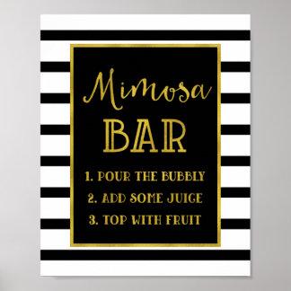 Gold Black Stripes Mimosa Bar Sign Wedding Poster