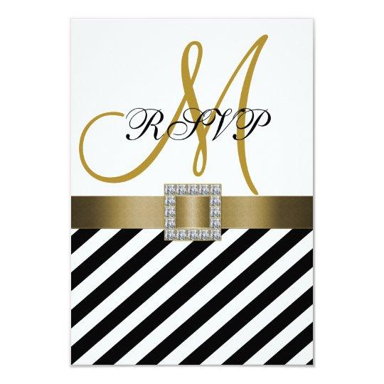 Gold Black Stripes Ribbon Wedding RSVP Card