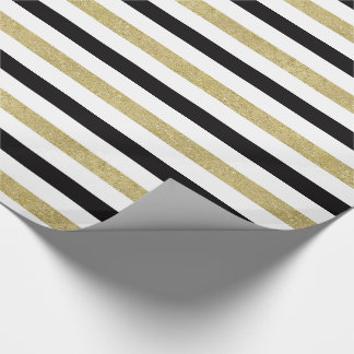 Gold Black Stripes Wrapping Paper