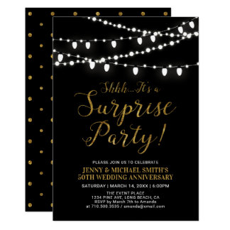 Gold & Black | Surprise 50th Wedding Anniversary Invitation