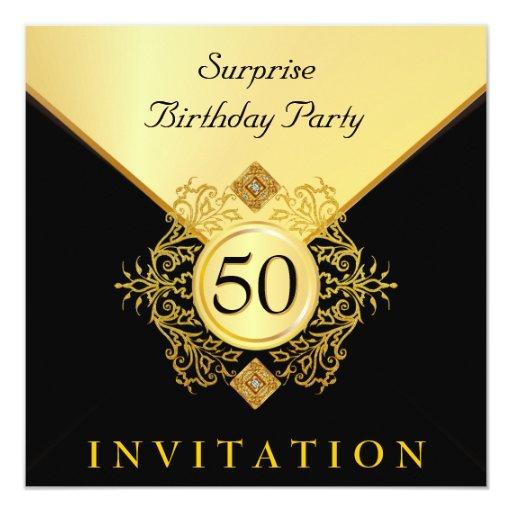"""Gold Black Surprise Birthday Party Invitations 5.25"""" Square Invitation Card"""