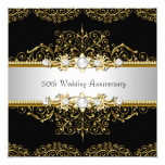 """Gold Black Swirl 50th Wedding Anniversary Invite 5.25"""" Square Invitation Card"""