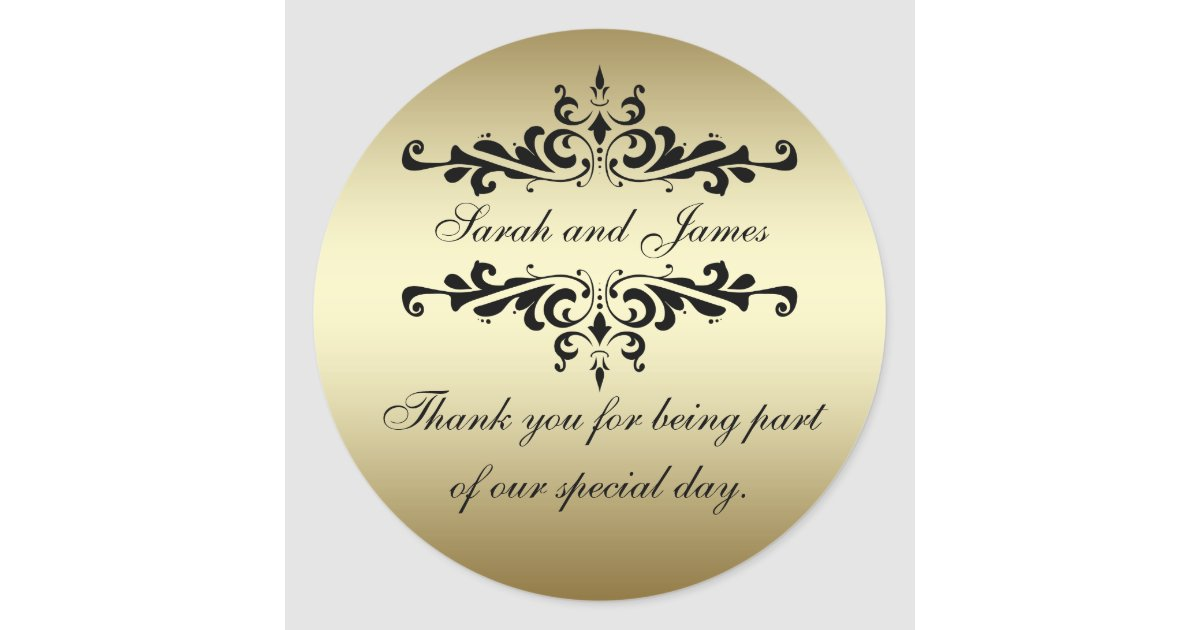 Thank You Wedding Stickers Gold Black Swirls Thank You Wedding