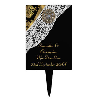 Gold black traditional damask white lace wedding cake topper