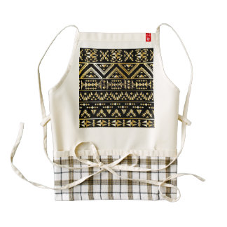 Gold,black,tribal,damask,native,pattern,trendy,fun Zazzle HEART Apron