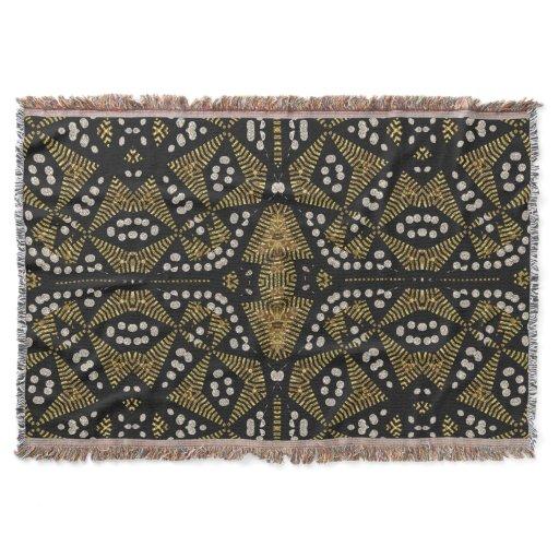 Gold Black Tribal Geometric Woven Throw Blanket