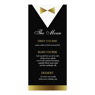 Gold & Black Tuxedo Menu Card, Modern, Formal