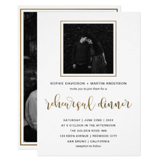 Gold & Black Typography | Rehearsal Dinner Photo Card