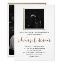 Gold & Black Typography | Rehearsal Dinner Photo Invitation