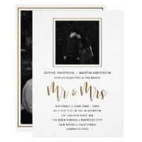 Gold & Black Typography Wedding Mr & Mrs Photo Card
