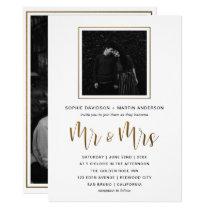 Gold & Black Typography Wedding Mr & Mrs Photo Invitation