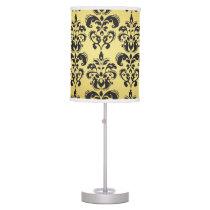 Gold Black Vintage Damask Pattern 2 Desk Lamp