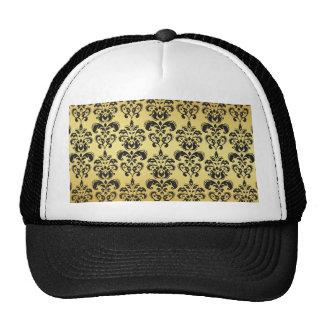 Gold Black Vintage Damask Pattern 2 Trucker Hats