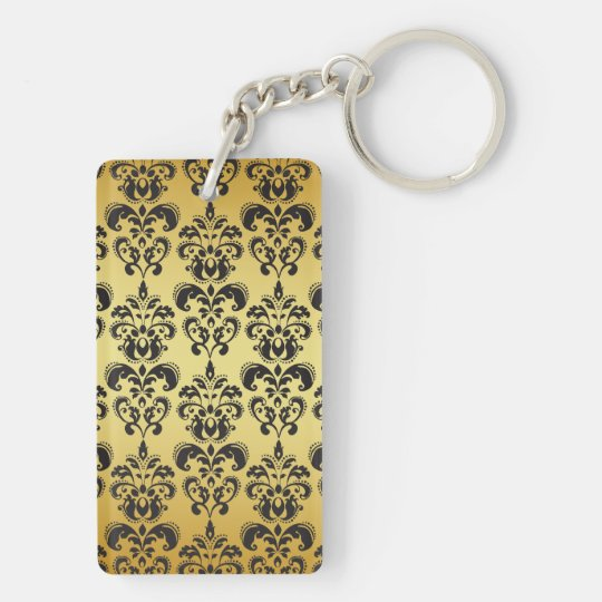 Gold Black Vintage Damask Pattern 2 Keychain