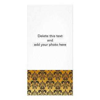 Gold Black Vintage Damask Pattern 2 Photo Card