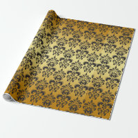 Gold Black Vintage Damask Pattern 2 Wrapping Paper