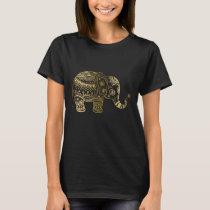 Gold & Black Vintage Flowers Elephant Illustration T-Shirt