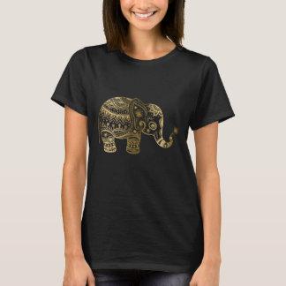 Gold & Black Vintage Flowers Elephant Illustration T-Shirt