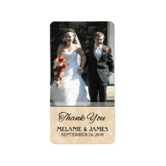Gold & Black Wedding Custom Photo Thank You Label Address Label