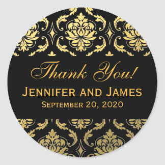 Gold Black Wedding Damask Thank You Label