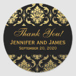 Gold Black Wedding Damask Thank You Label Classic Round Sticker