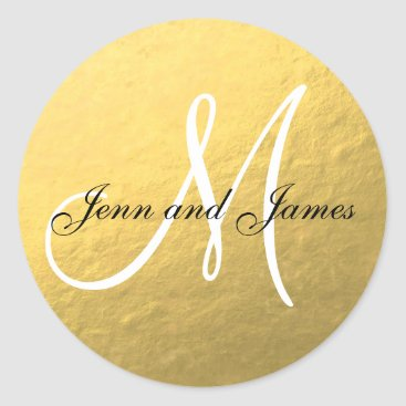 monogramgallery Gold Black Wedding Favor Sticker Initial