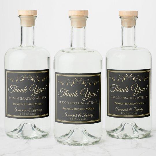 Gold & Black Wedding Liquor Bottle Label Thank You