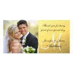 Gold Black Wedding Thank You Message Photo Card