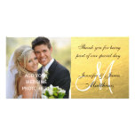 Gold Black Wedding Thank You Message Customized Photo Card
