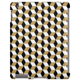 Gold, Black & White 3D Cubes Pattern