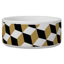 Gold Black & White 3D Cubes Pattern Bowl