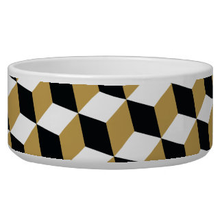 Gold Black & White 3D Cubes Pattern Bowl
