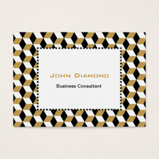 Gold Black & White 3D Cubes Pattern Business Card