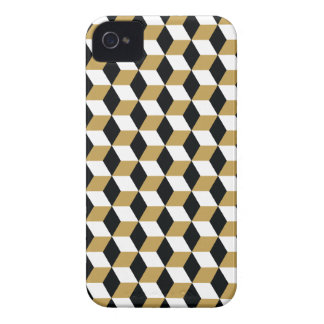 Gold Black & White 3D Cubes Pattern iPhone 4 Cover