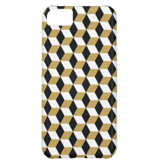 Gold Black & White 3D Cubes Pattern iPhone 5C Cover