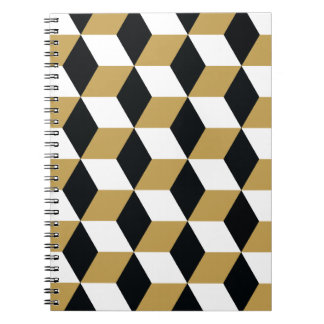 Gold Black & White 3D Cubes Pattern Spiral Notebook