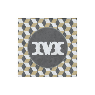 Gold, Black & White 3D Cubes Pattern Stone Magnet