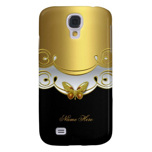Gold Black White Butterfly Galaxy S4 Cases