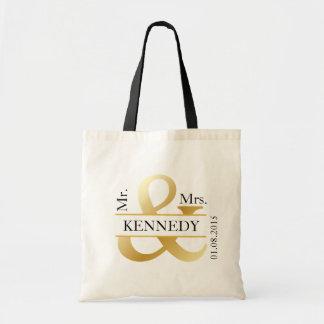 Gold Black White Custom Newly Weds Wedding Favor Budget Tote Bag