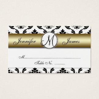 Gold, Black, White Damask Wedding Place Card