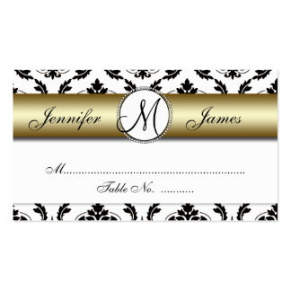Gold, Black, White Damask Wedding Place Card Double-Sided Standard Business Cards (Pack Of 100)